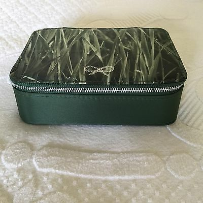 British Airways First class wash bag, Anya Hindmarch, green satin, BA, ex cond