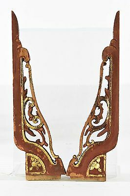 Pair of Antique Chinese Red & Gold Wooden Carving / Panel, Qing Dynasty, 19th c