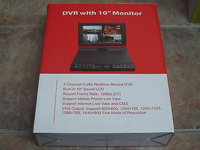 DVR with 10 inches Monitor, model LTD6104C, for 4 cameras