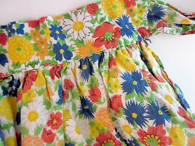 Old HAND SEWN Half Apron - Bright Floral Pattern Spring Summer