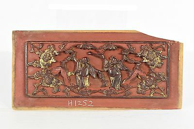 Antique Chinese Red & Gilt Wooden Carved Panel, Qing Dynasty, 19th c