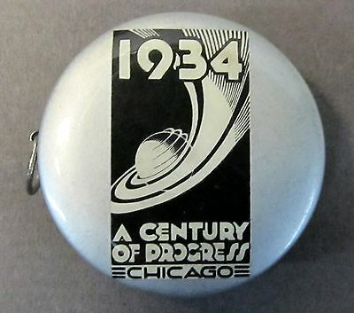 1934 CHICAGO WORLD'S FAIR  ELECTRICAL BUILDING celluloid ad tape measure *