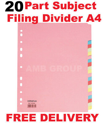 20 Part Subject File Filing Dividers A4 Multi Coloured Same Day Dispatch