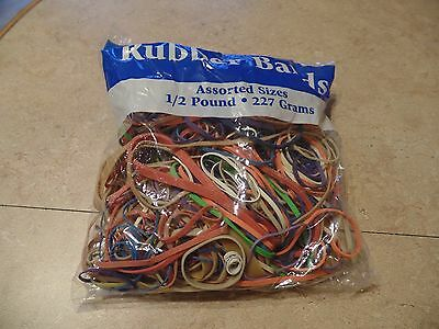 Rubber Bands Half Pound Multi Color & Sizes, 1/2# Office Supplies, Made in USA