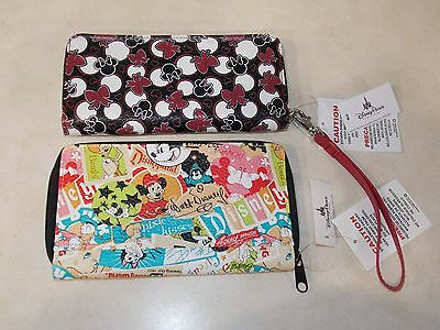 (2) Disney Parks Mickey & Minnie Mouse Icon Zip Wallet - NEW