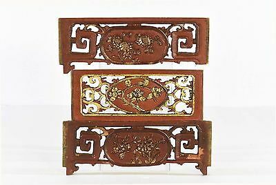 Three Antique Chinese Red & Gilt Wooden Carved Panel, Qing Dynasty, 19th c