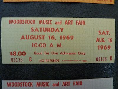 1969 Woodstock TICKET MINT (GREEN) signed certificate Genuine NO RESERVE !!