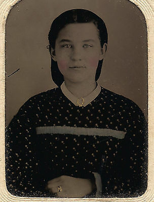 OLD VINTAGE ANTIQUE TINTYPE PHOTO BEAUTIFUL YOUNG GIRL IN PRINT DRESS by S.&C.E.