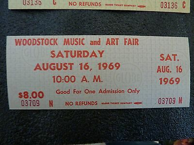 Woodstock (1) Ticket 1969 direct from safe uncirculated  WHITE NO RESERVE !!