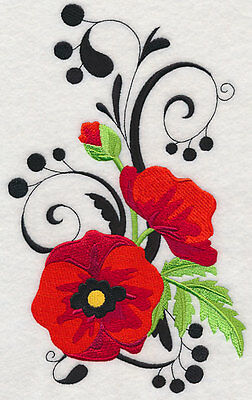 Embroidered Fancy poppy quilt block, fabric,cushion panel,wall art,love,poppies