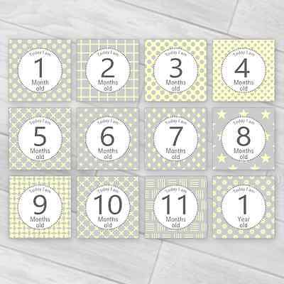 Contemporary Baby Milestone Cards / Unisex Photo Prop Baby Shower Pregnancy Gift