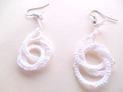 TATTED White Earrings Silver Hooks NEW by  Dove Country Tatting