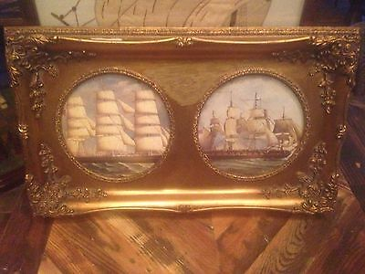 Two Antique Ornate Gold Coloured Frame Picture