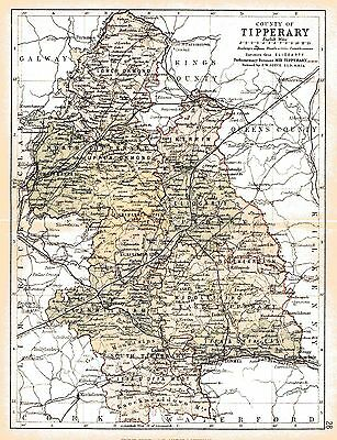 Print of A4 size 1897 map of County Tipperary. Ireland.