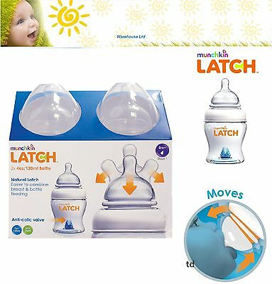 NEW! Munchkin Latch 120ml 0m+ Baby Feeding Bottles Set - Twin 2 Pack