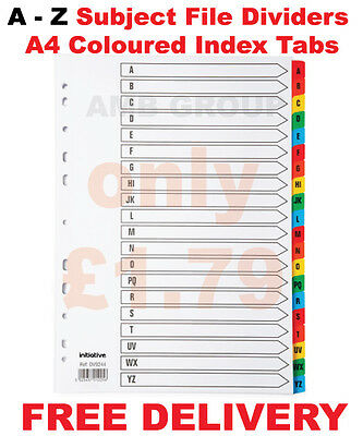 A - Z Subject File Dividers A4 Coloured Mylar Index Tabs Premium Quality