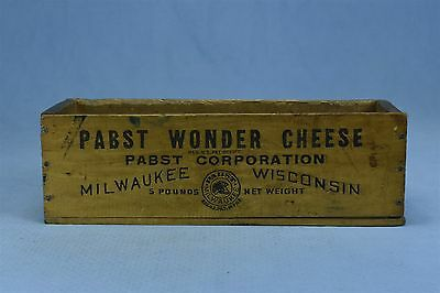 Vintage WOODEN PABST WONDER 5 LB CHEESE BOX MILWAUKEE WISCONSIN #3117