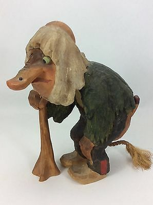 """Rare Henning Norway Carved By Hand Old Man Troll Walking With A Cane-9"""" Tall"""