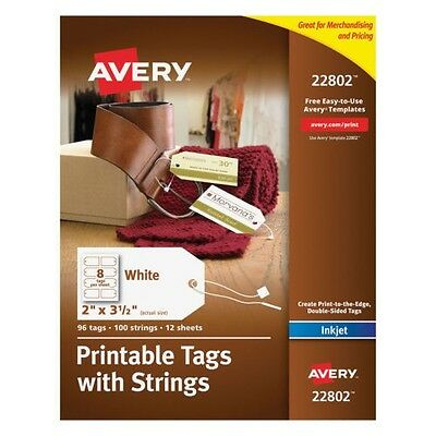 Avery Printable Tags with Strings 96 Tags 100 Strings InkJet New
