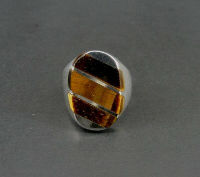 Tiger Eye 3 Line Design Signet Size 10 Sterling Silver 925 Ring