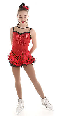 New Red Figure Skating Dress Elite Xpression Xsport 1520 Size Child 10-12