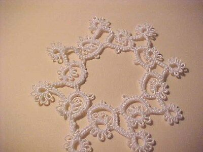 2 Tatted Snowflakes White  4 inch  NEW Christmas B Design Dove CountryTatting