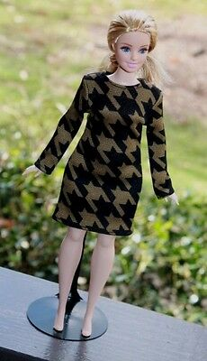 "Clothes for Curvy Barbie Doll. ""Houndstooth"" print dress for Dolls."