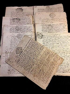 LOT OF NINE ANTIQUE PAPERS 1700s