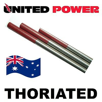 10 electrodes 1.6 mm X 175mm  2% Thoriated Tungsten TIG Electrode Red Tip  WT20/