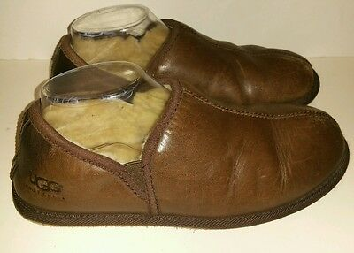 Ugg Mens Brown Scuff Romeo Leather Slippers - US Size 8/EU 40.5
