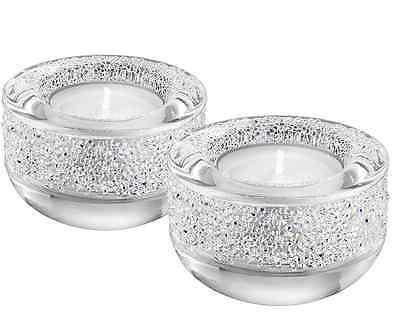 New In Box! Swarovski Crystal SHIMMER TEA LIGHT SET Silver MSRP $98