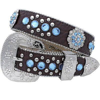 "Turquoise XS Kids Western Leather Rhinestone Belt Fits 22""-27"" waist Bling Youth"