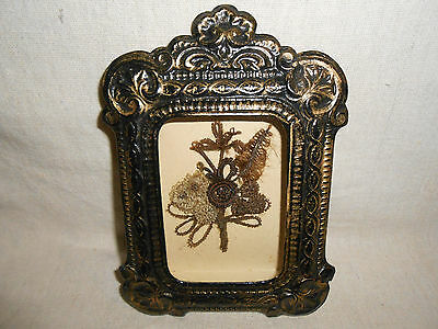 Victorian Antique Mourning Hair Art Shadow Box Frame