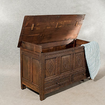 Antique Oak Coffer Mule Chest Carved Storage Trunk English Early Georgian c1720