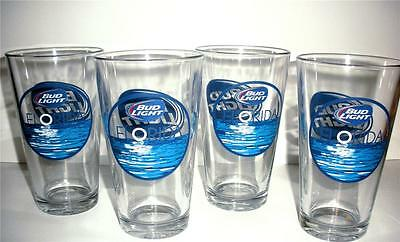 BUD LIGHT BEER FLORIDA Glasses 4 pc Set Bar Coastal Tropical Ocean