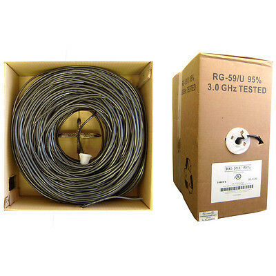 Bulk RG59/U Coaxial Cable, Black, 20 AWG, Solid Core, Pullbox, 1000 FT