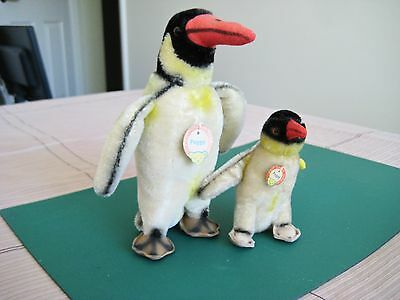 2 Steiff Penguins Peggy Snr and Peggy Jnr Both Original with all tags and labels