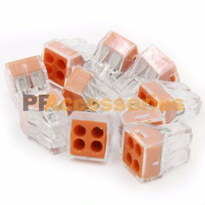 10 Pcs 4 Port Quick Push In Wire Connectors 18-12 Gauge 24A 400V Conductor