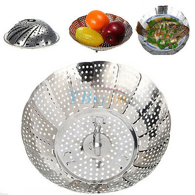 Stainless Mesh Collapsible Folding Food Dish Vegetable Steamer Basket Cooker