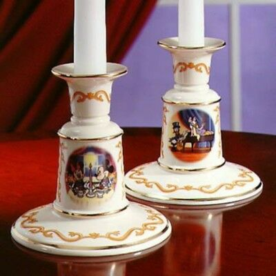 2 Lenox Disney Candleholders-$136 Value-NEW-Mickey Mouse Donald Duck-Great Gift!