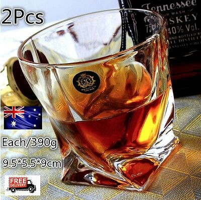 New Set of 2 Whiskey Wine Glass Crystal Tumblers Unique Drink Gift Lead-Free