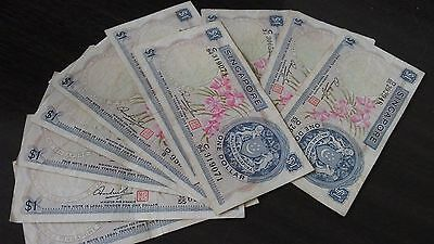 Singapore $1 1972 Orchid notes x 10