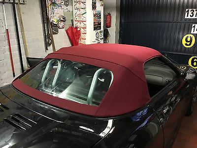MGF & MGTF  Mk1/2 Burgundy Mohair Hood & Plastic Window Section