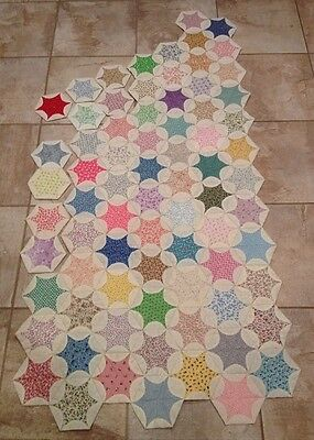 75 Blocks Momoe's Star Quilt As You Go Partial Quilt Top