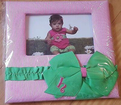 MUD PIE H Initial BABY Nursery Girls Preppy pink green PHOTO FRAME Personalized