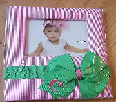 MUD PIE C Initial BABY Nursery Girls Preppy pink green PHOTO FRAME Personalized