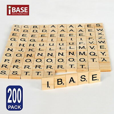 200 Wooden Alphabet Scrabble Tiles Black Letters & Numbers For Crafts Wood