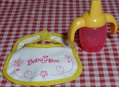 Baby Alive  Bib Yellow / White Pink/ Yellow Sippy /Bottle