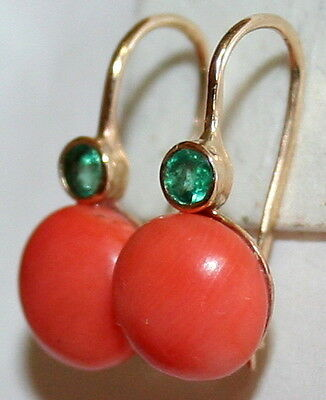 ANTIQUE VICTORIAN 14K GOLD .20ct EMERALD 9mm SALMON CORAL 2 STONE FINE EARRINGS