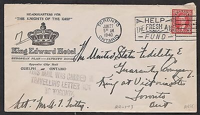 1940 3c Mufti.  Travelling Letter Box to Toronto, marking. Hotel ad from Guelph